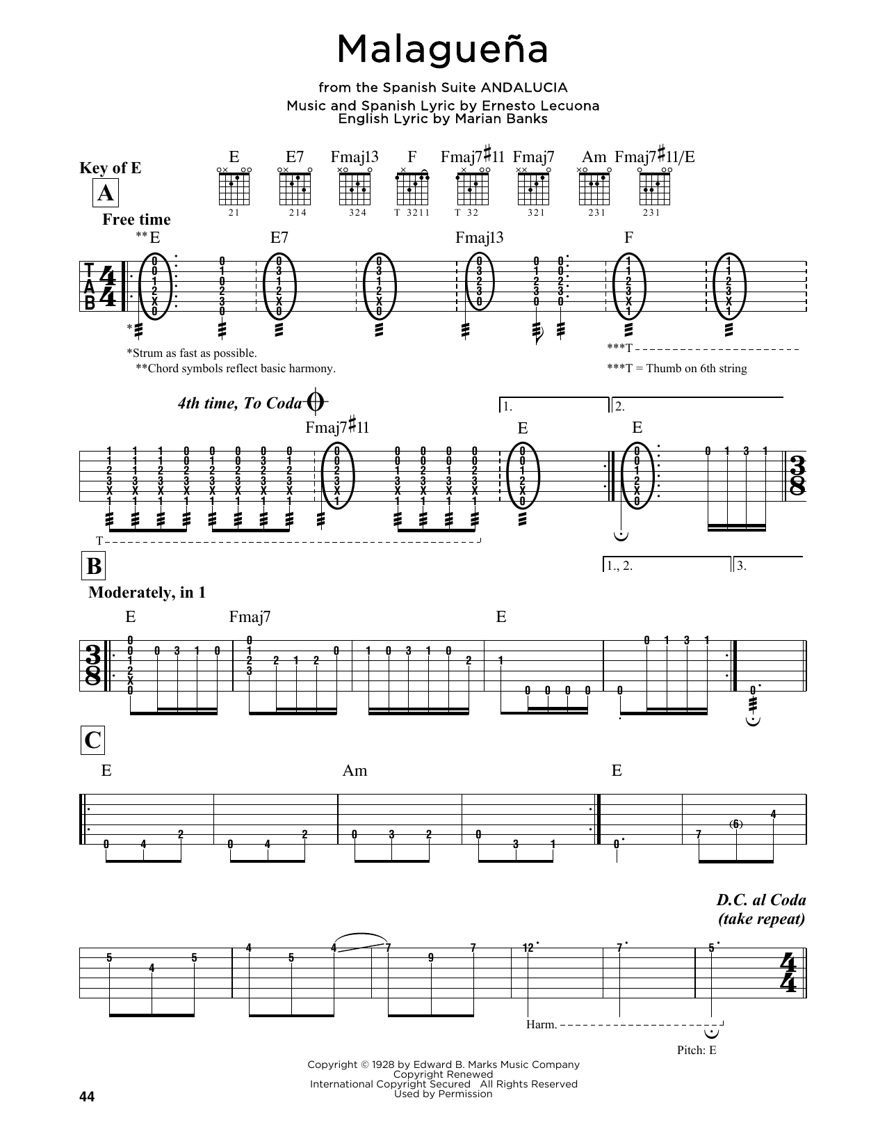 Partition autre Malaguena de Ernesto Lecuona - Tablature Guitare Lead