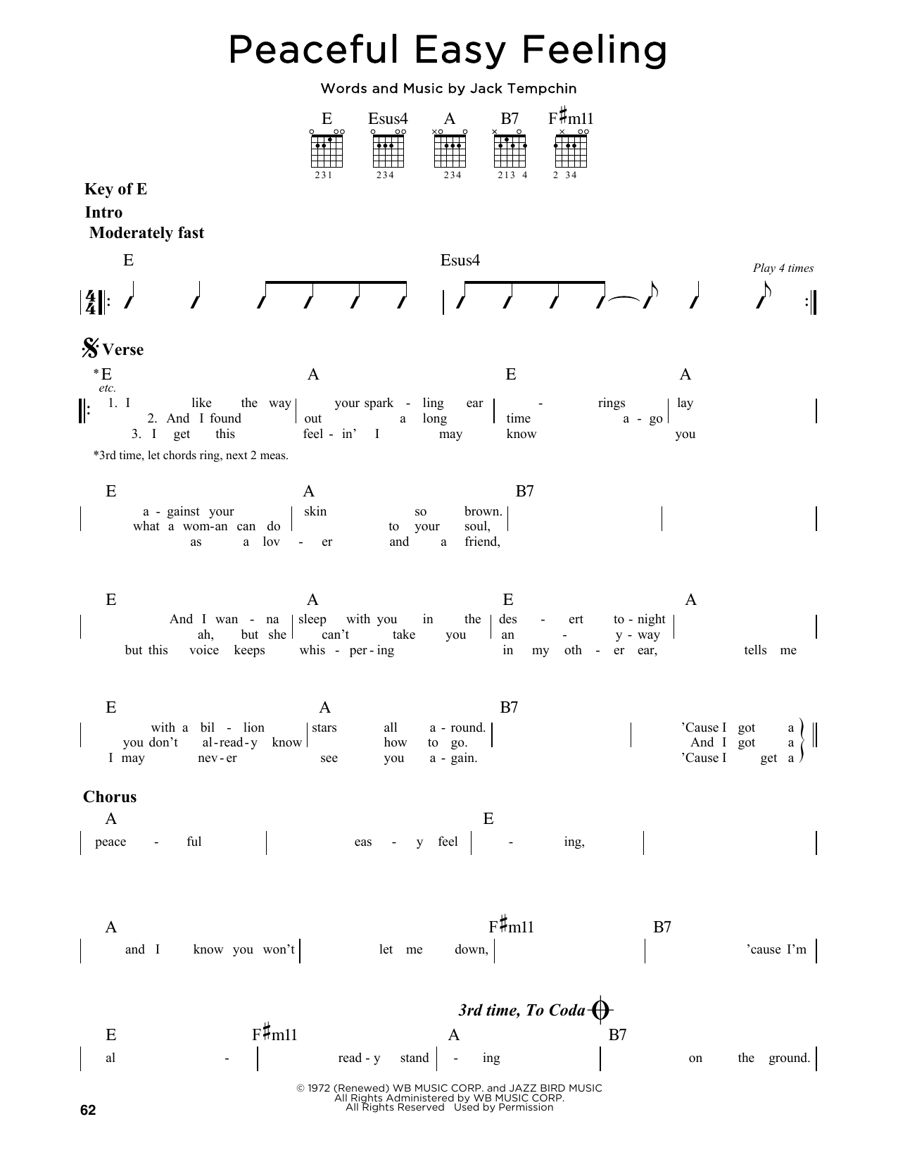 Peaceful Easy Feeling Sheet Music