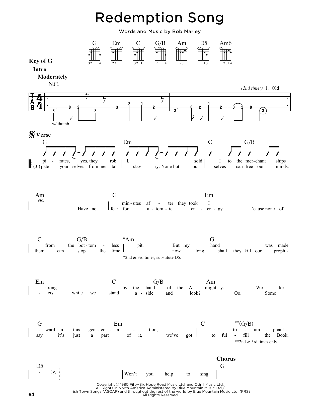 Redemption song sheet music by bob marley guitar lead sheet 164879 bob marley redemption song guitar lead sheet hexwebz Gallery