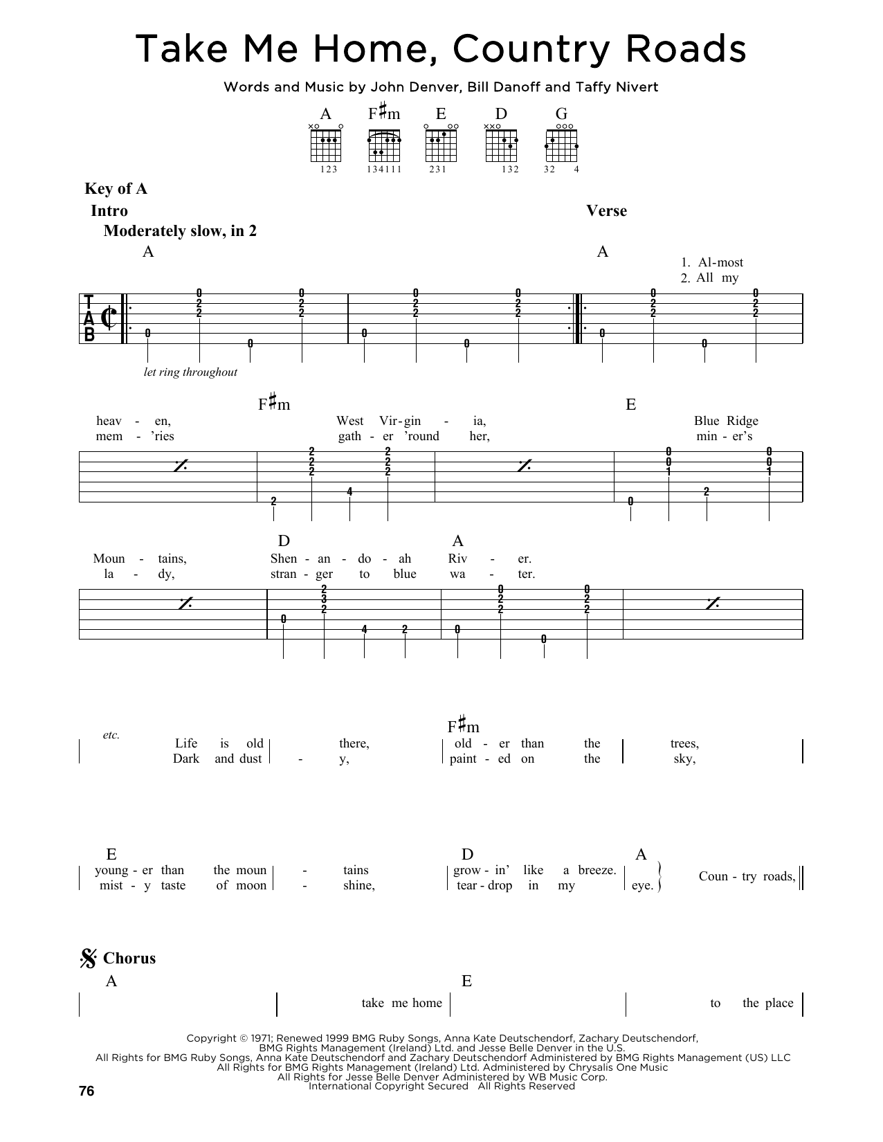 Partition autre Take Me Home, Country Roads de John Denver - Tablature Guitare Lead