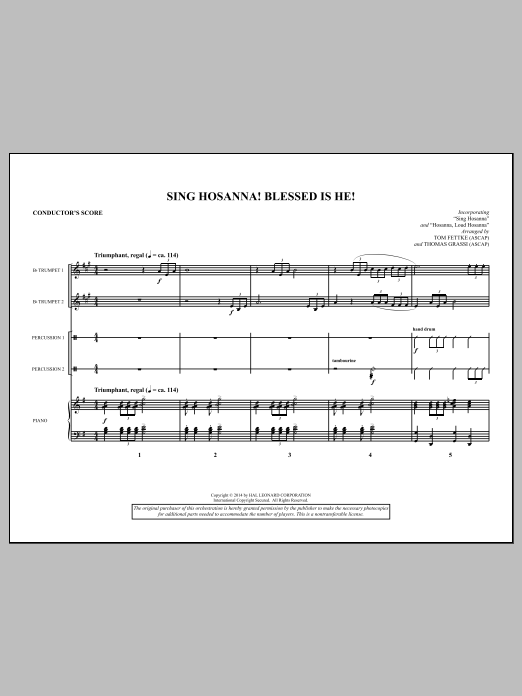 Sing Hosanna! Blessed Is He! (COMPLETE) sheet music for orchestra/band by Tom Fettke, Jeanette Threlfall and Thomas Grassi. Score Image Preview.