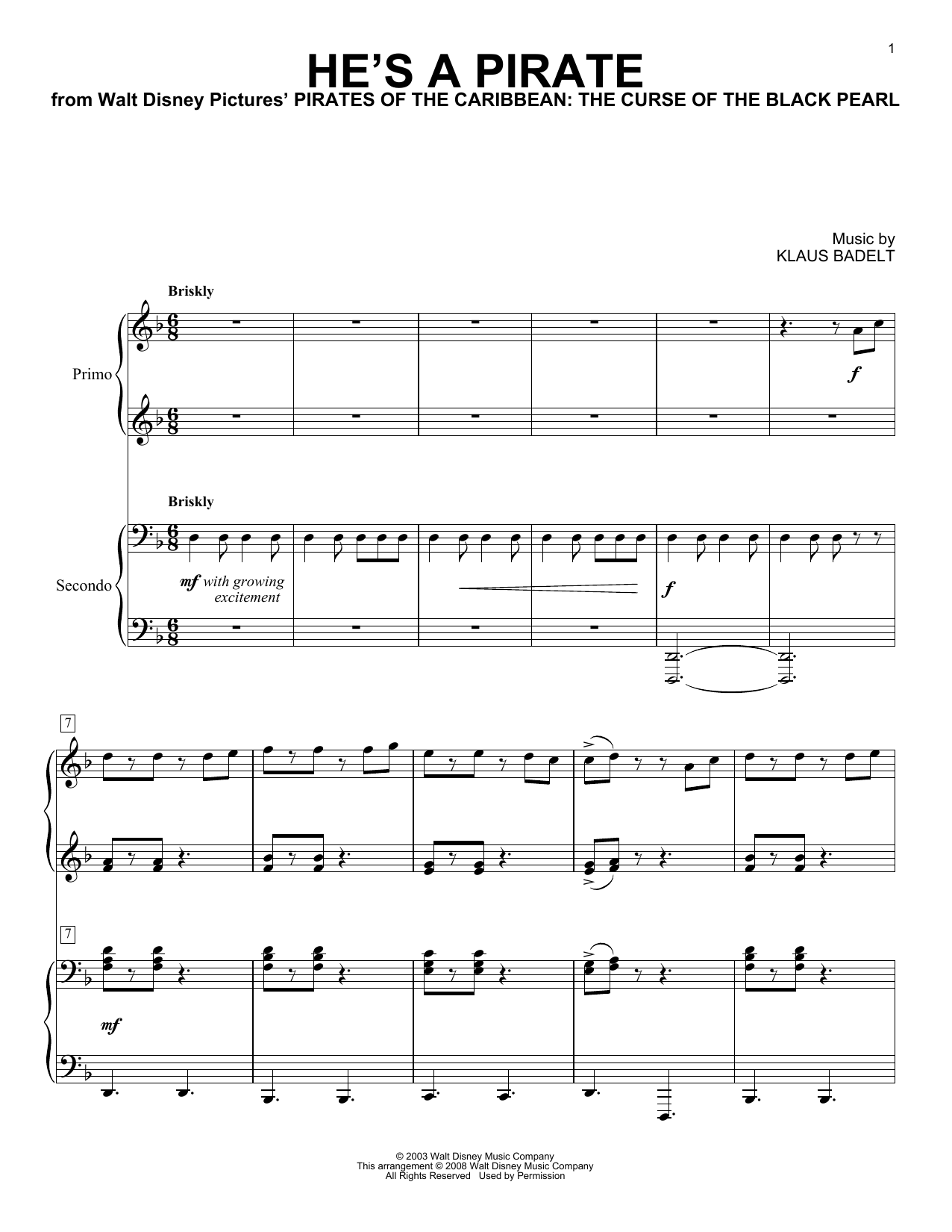 He's A Pirate (from Pirates Of The Caribbean: The Curse Of The Black Pearl) Sheet Music