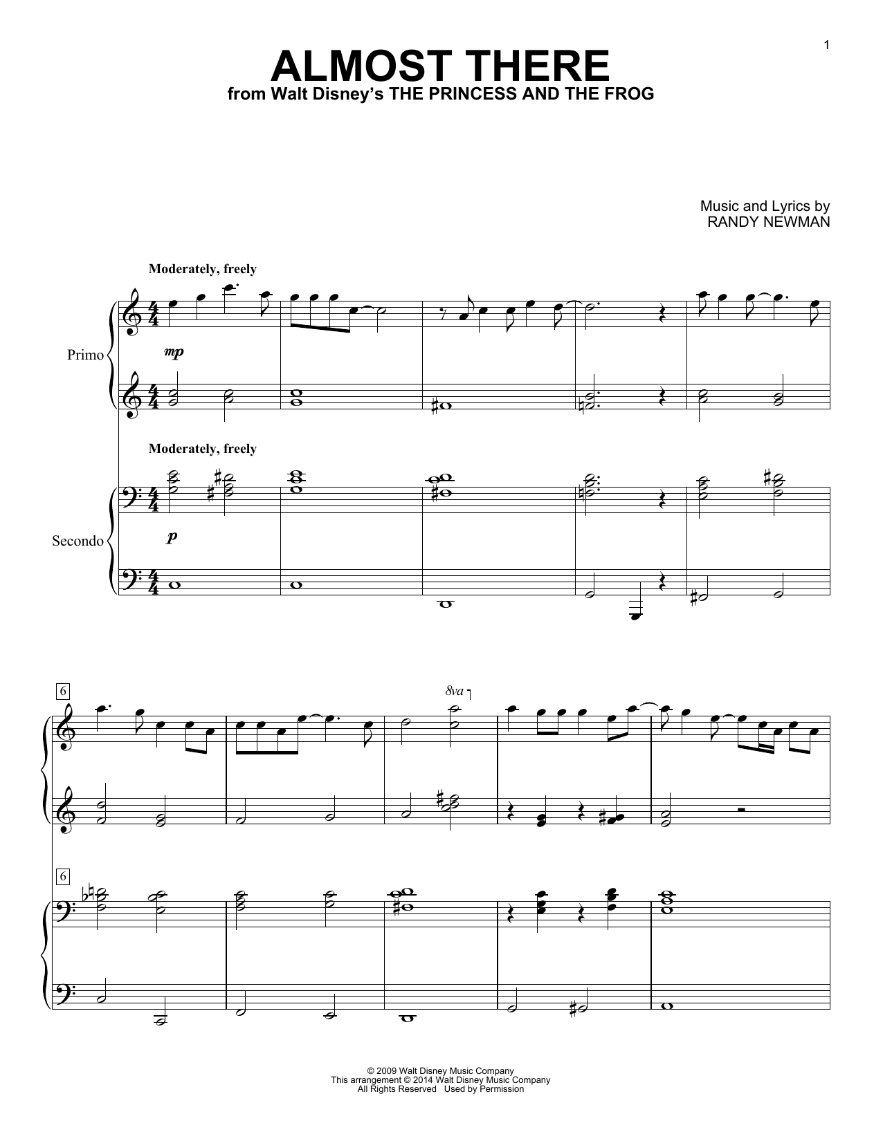 Almost There (from Walt Disney's The Princess And The Frog) Sheet Music