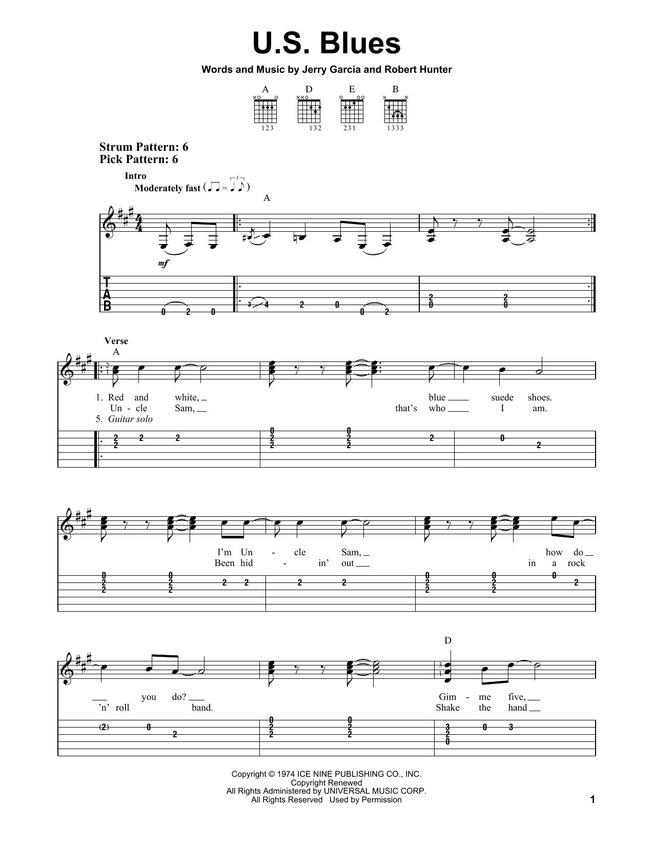 U S  Blues by Grateful Dead - Easy Guitar Tab - Guitar