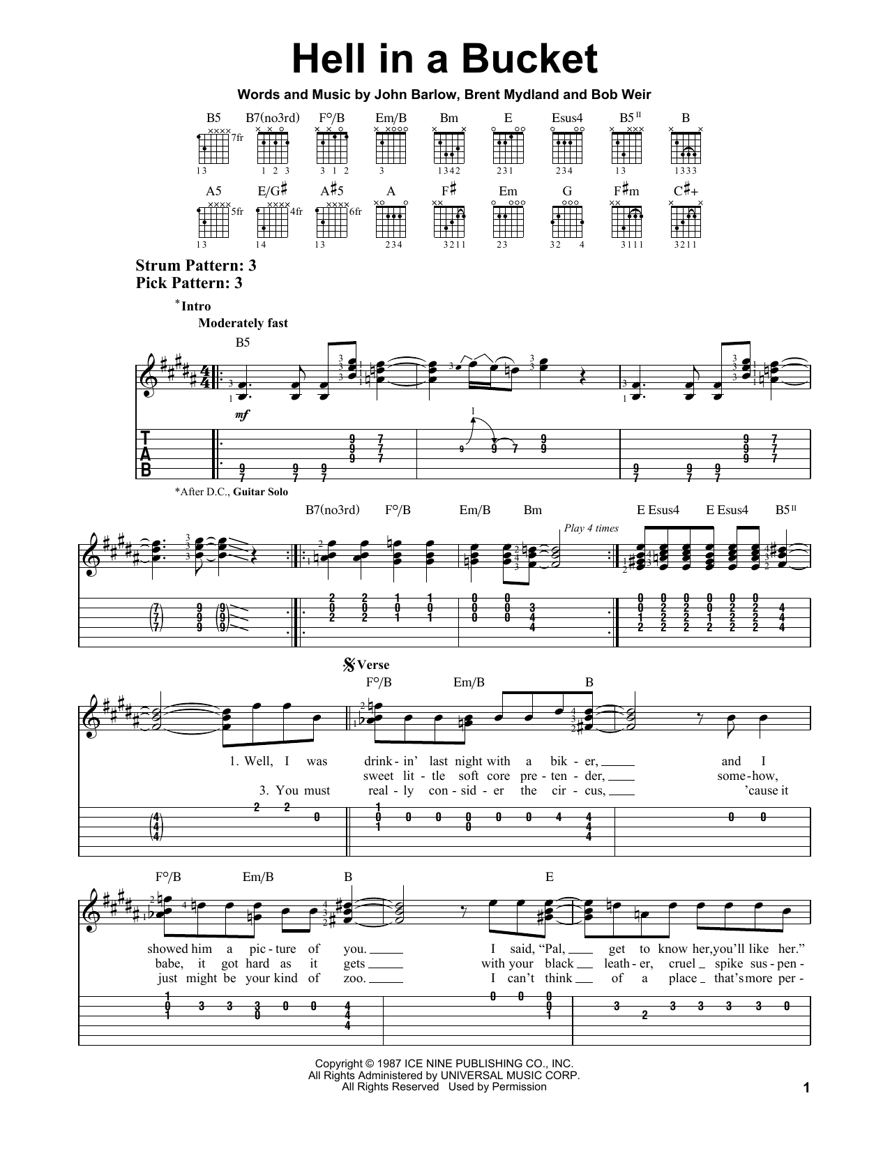 Hell In A Bucket (Easy Guitar Tab)