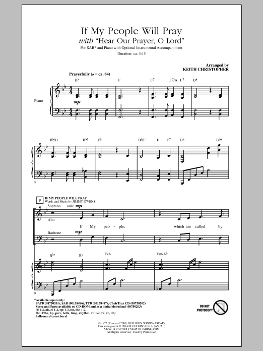 If My People Will Pray (with Hear Our Prayer, O Lord) Sheet Music