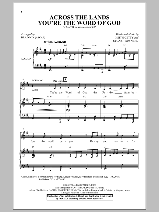 Across The Lands You're The Word Of God Sheet Music