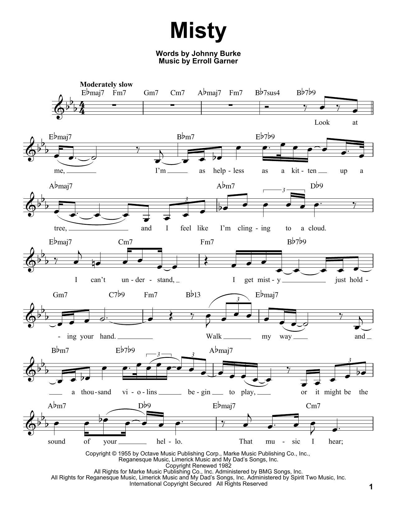 Misty (Pro Vocal) - Print Sheet Music Now