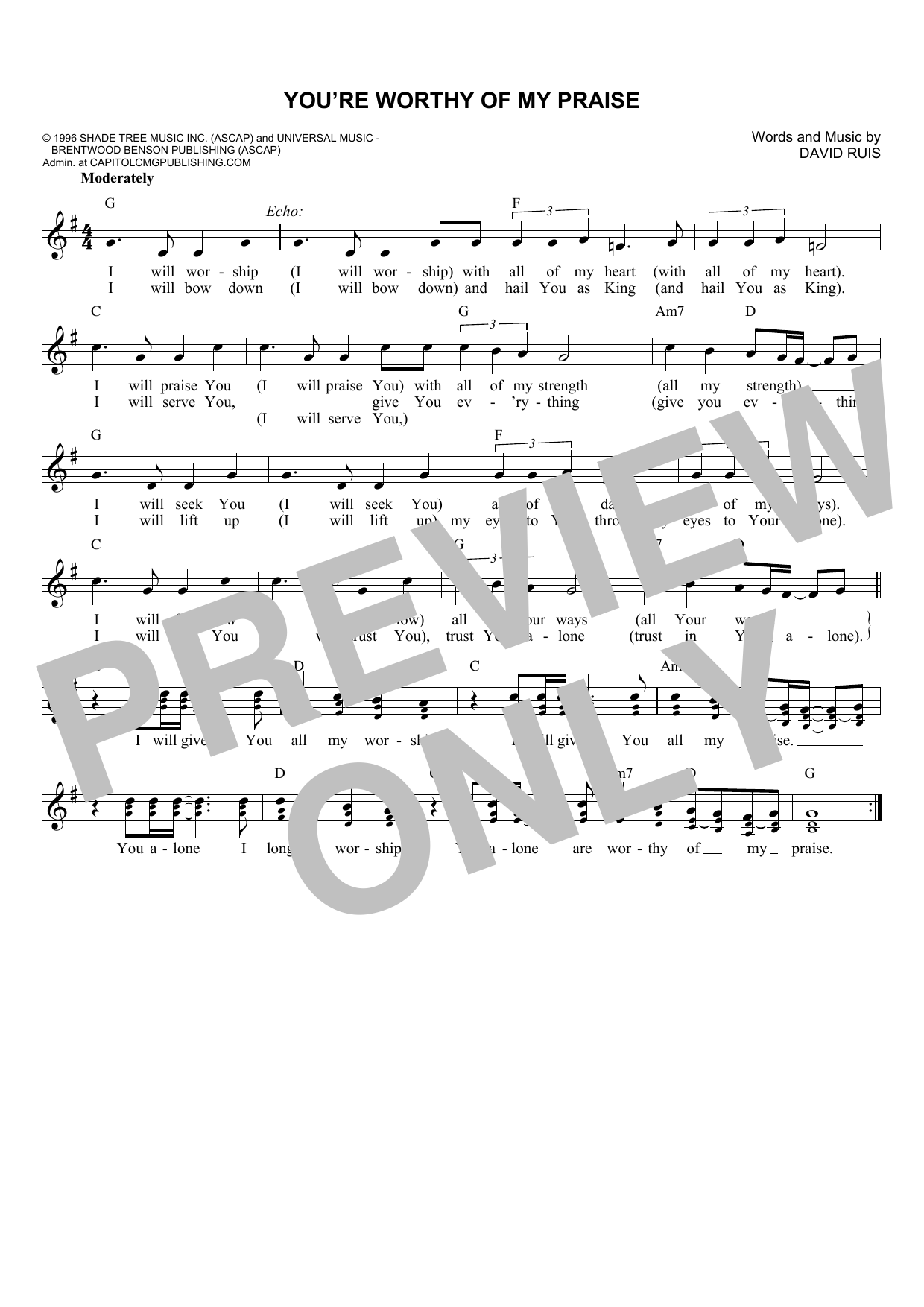 You're Worthy Of My Praise (Lead Sheet / Fake Book)