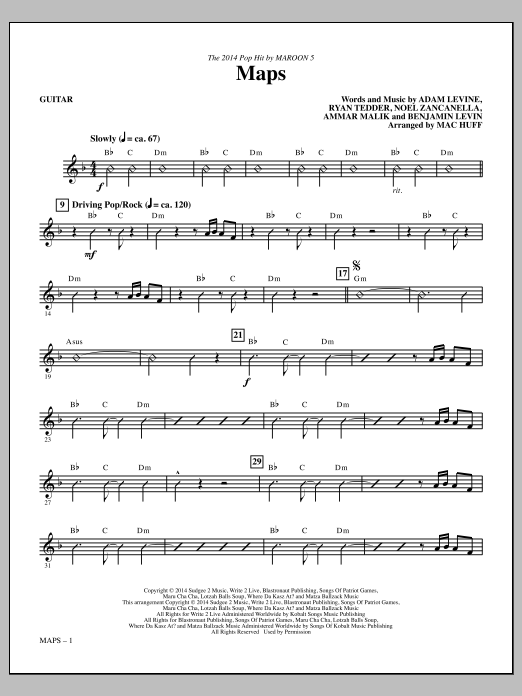 Maps - Guitar Sheet Music