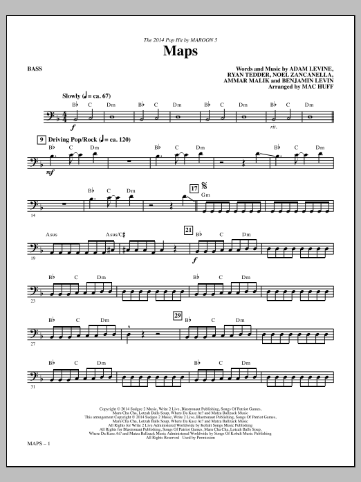 Maps (arr. Mac Huff) - Bass (Choir Instrumental Pak)