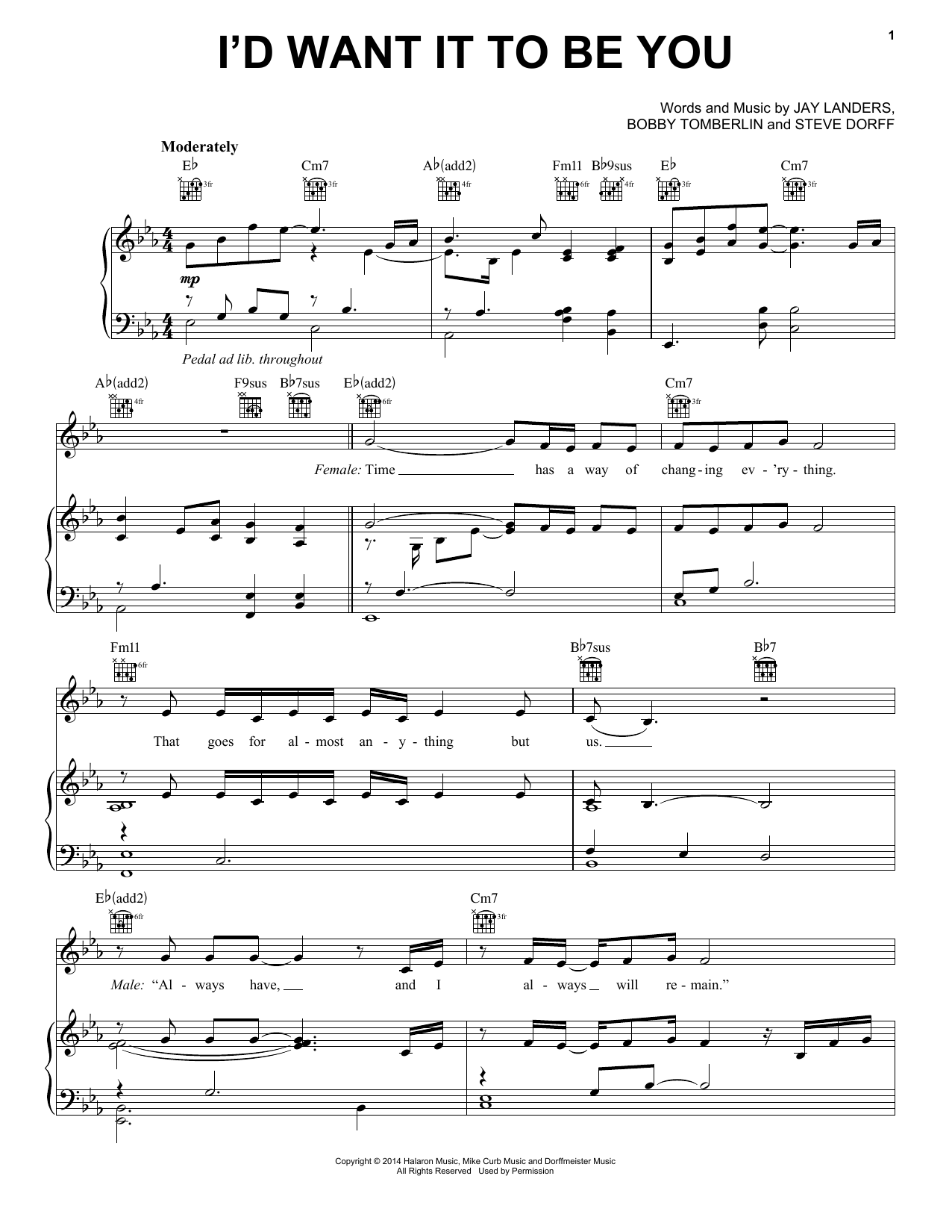 I'd Want It To Be You Sheet Music