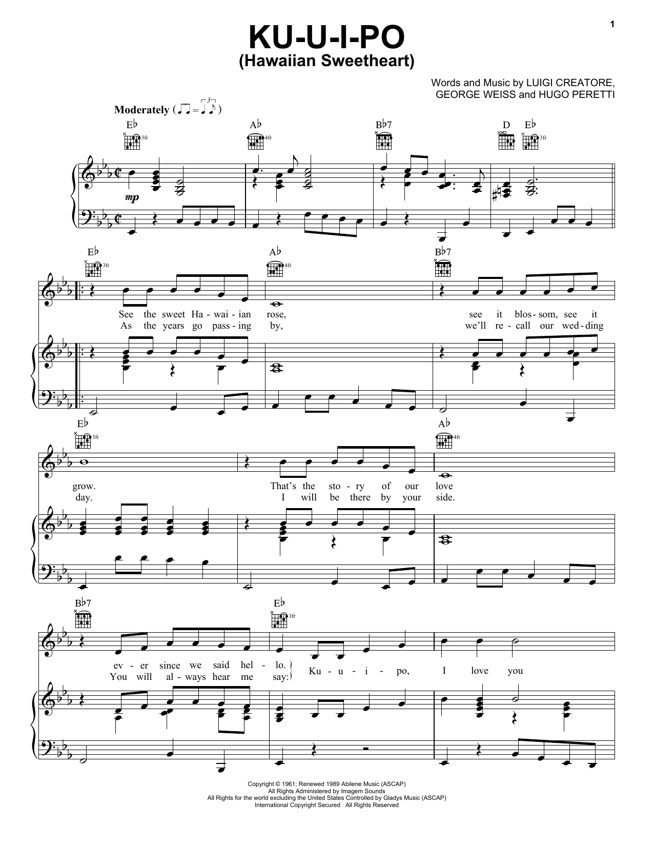 Ku-U-I-Po (Hawaiian Sweetheart) Sheet Music