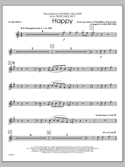 Happy (complete set of parts) sheet music for orchestra/band by Mark Brymer, Pharrell and Pharrell Williams. Score Image Preview.