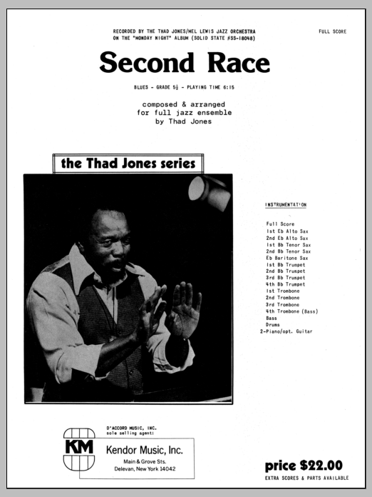 Second Race (COMPLETE) sheet music for jazz band by Thad Jones. Score Image Preview.