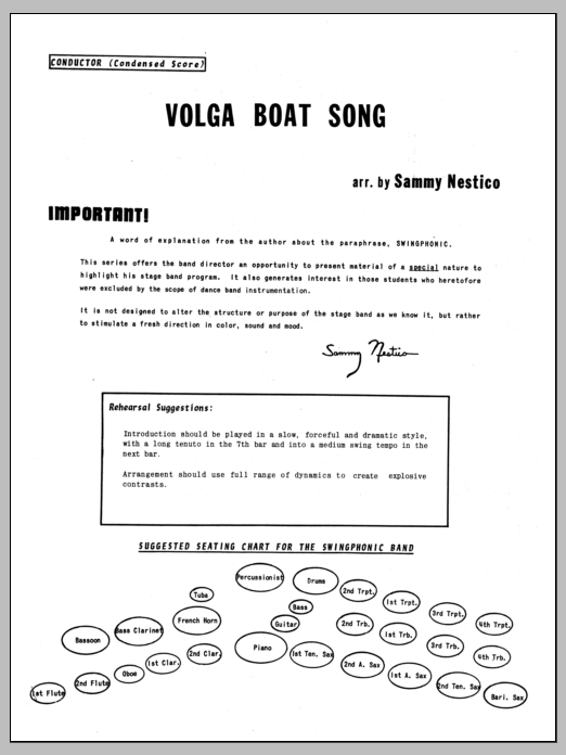 Volga Boat Song (complete set of parts) sheet music for jazz band by Sammy Nestico. Score Image Preview.