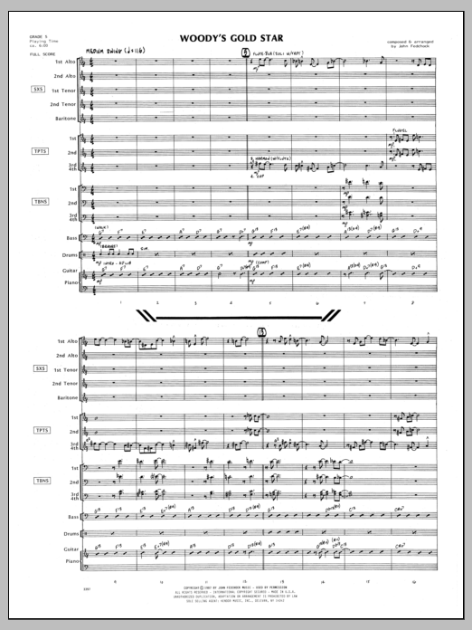 Woody's Gold Star (COMPLETE) sheet music for jazz band by John Fedchock. Score Image Preview.