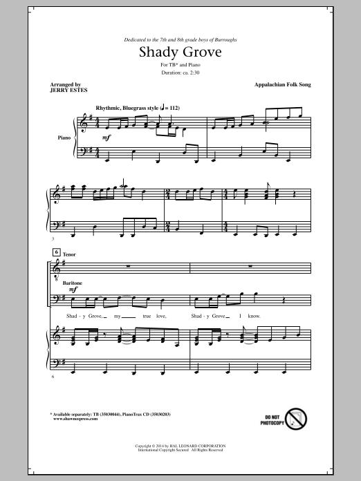 Partition chorale Shady Grove de Jerry Estes - TB