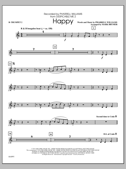 Happy (arr. Mark Brymer) - Bb Trumpet 2 (Choir Instrumental Pak)