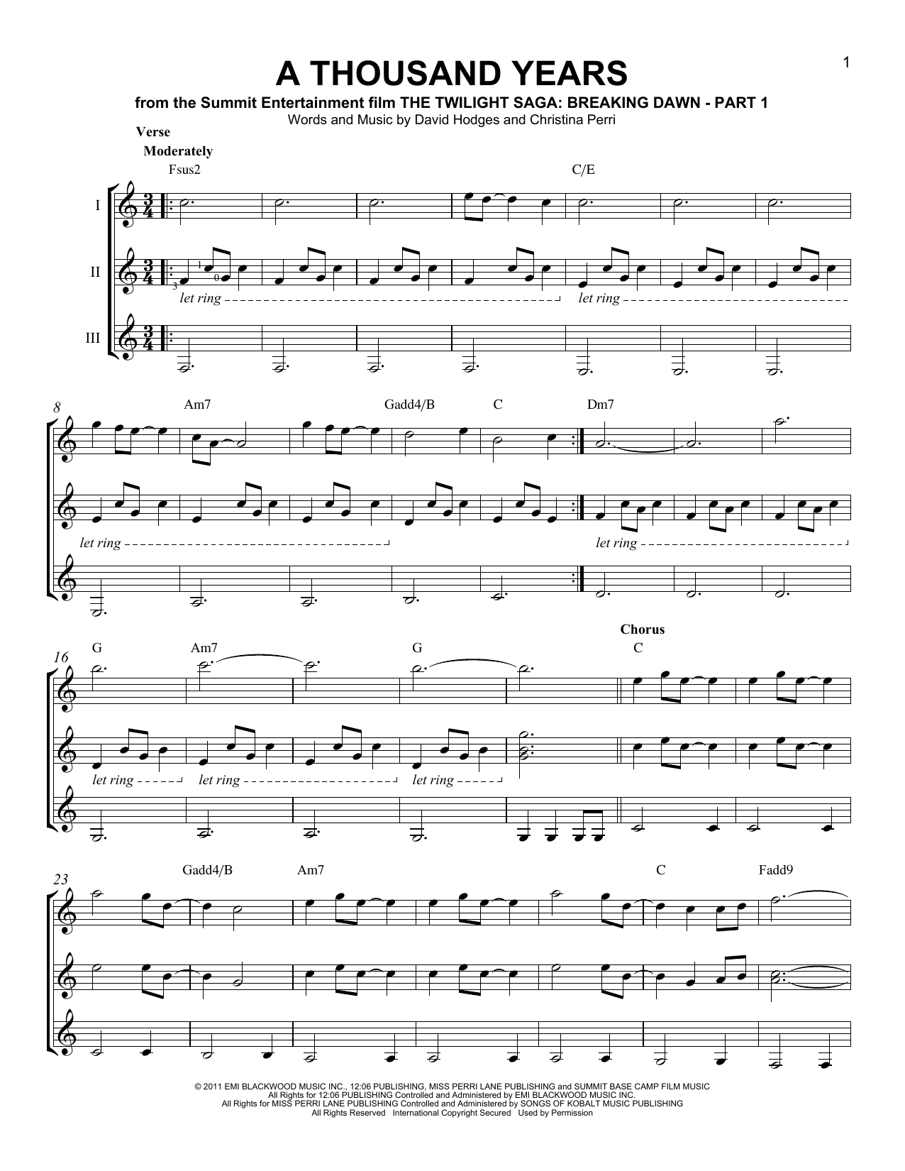 sheet music for a thousand years