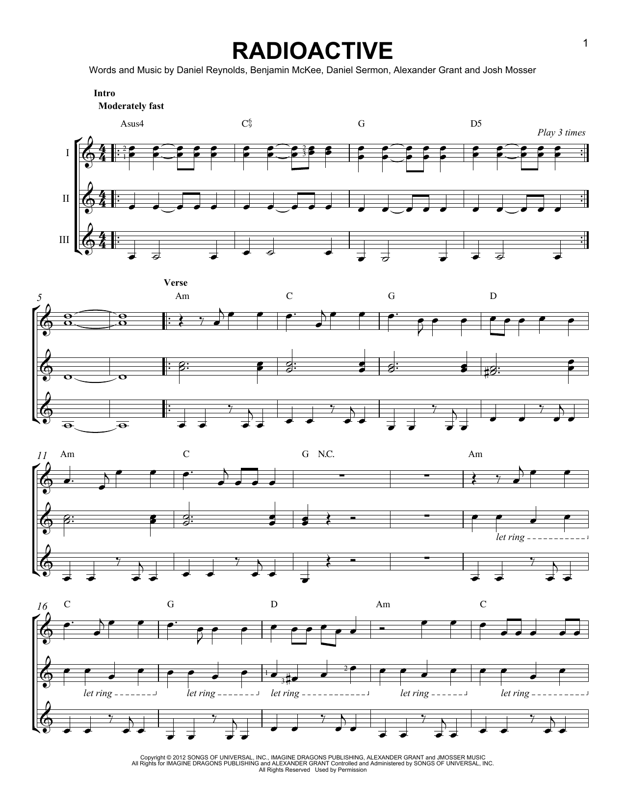 radioactive sheet music by imagine dragons guitar