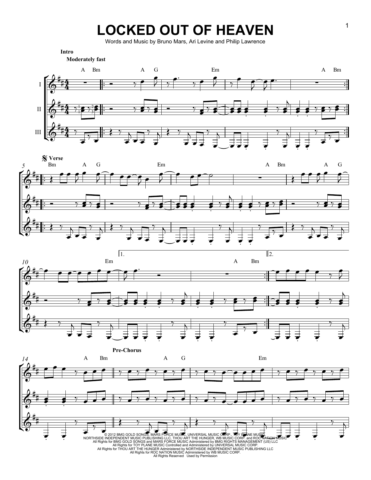 Locked Out Of Heaven Sheet Music