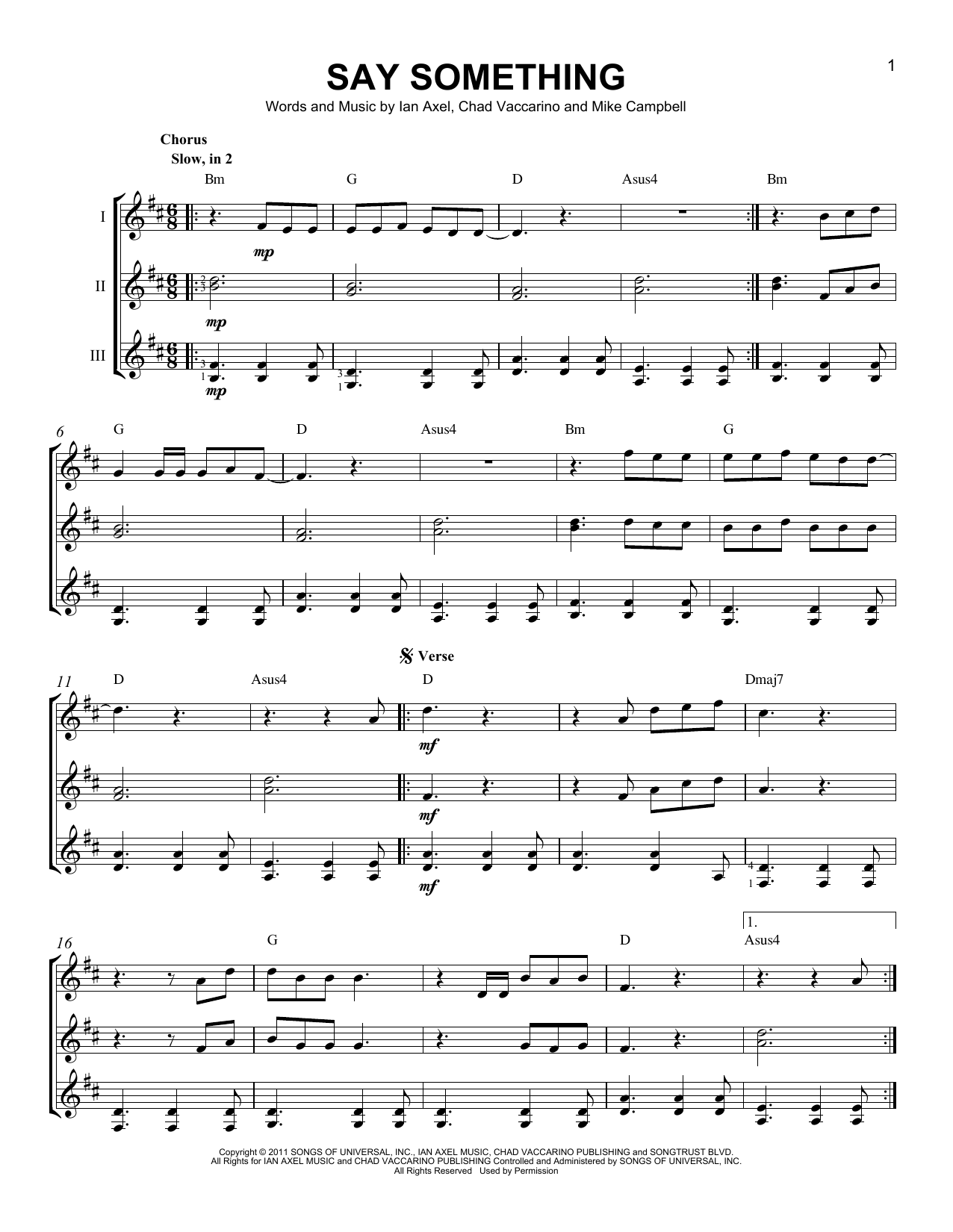 Say something sheet music by a great big world guitar for Great house music