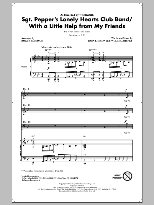 Sgt. Pepper's Lonely Hearts Club Band (arr. Roger Emerson) Sheet Music