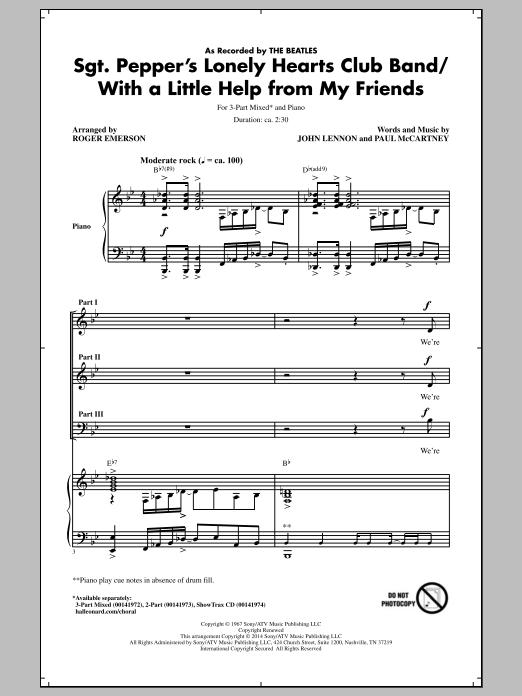 Partition chorale Sgt. Pepper's Lonely Hearts Club Band (arr. Roger Emerson) de The Beatles - 3 voix mixtes