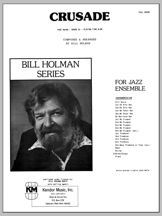 Crusade (COMPLETE) sheet music for jazz band by Bill Holman. Score Image Preview.