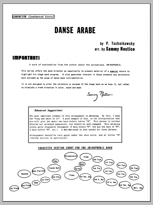 Danse Arabe (COMPLETE) sheet music for jazz band by Sammy Nestico, Pyotr Ilyich Tchaikovsky and Tschaikowsky. Score Image Preview.