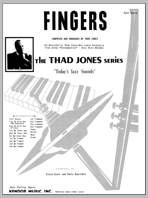 Fingers (COMPLETE) sheet music for jazz band by Thad Jones. Score Image Preview.