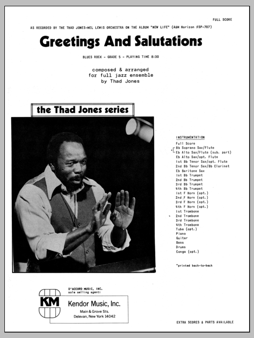 Greetings And Salutations (COMPLETE) sheet music for jazz band by Thad Jones. Score Image Preview.