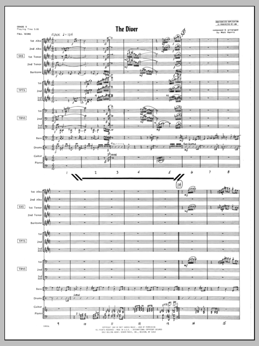 The Diver (COMPLETE) sheet music for jazz band by Matt Harris. Score Image Preview.