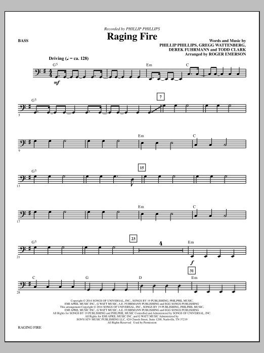 Raging Fire - Bass Sheet Music