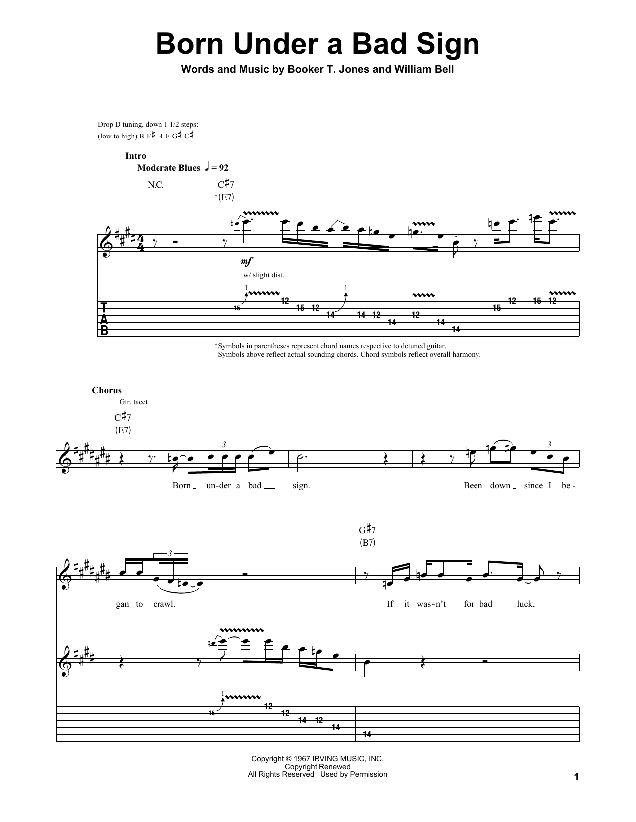 Born Under A Bad Sign (Guitar Tab (Single Guitar))