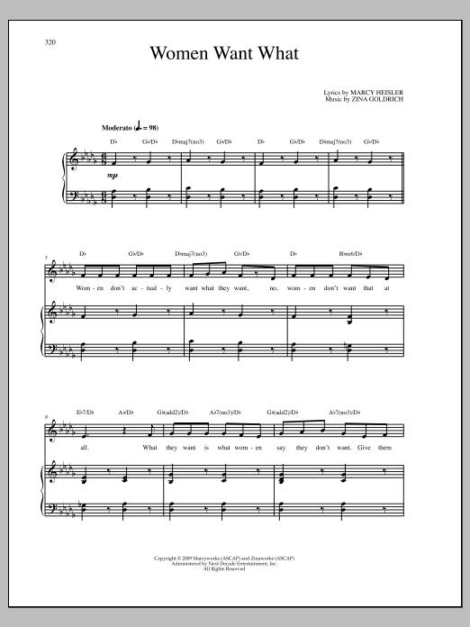 Partition piano Women Want What de Goldrich & Heisler - Piano Voix