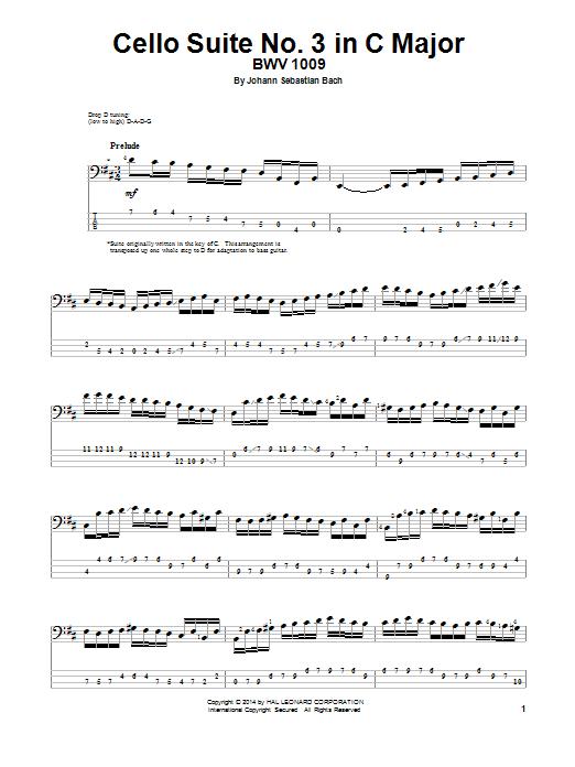 Tablature guitare Cello Suite No. 3 In C Major, BWV 1009 de Johann Sebastian Bach - Tablature Basse