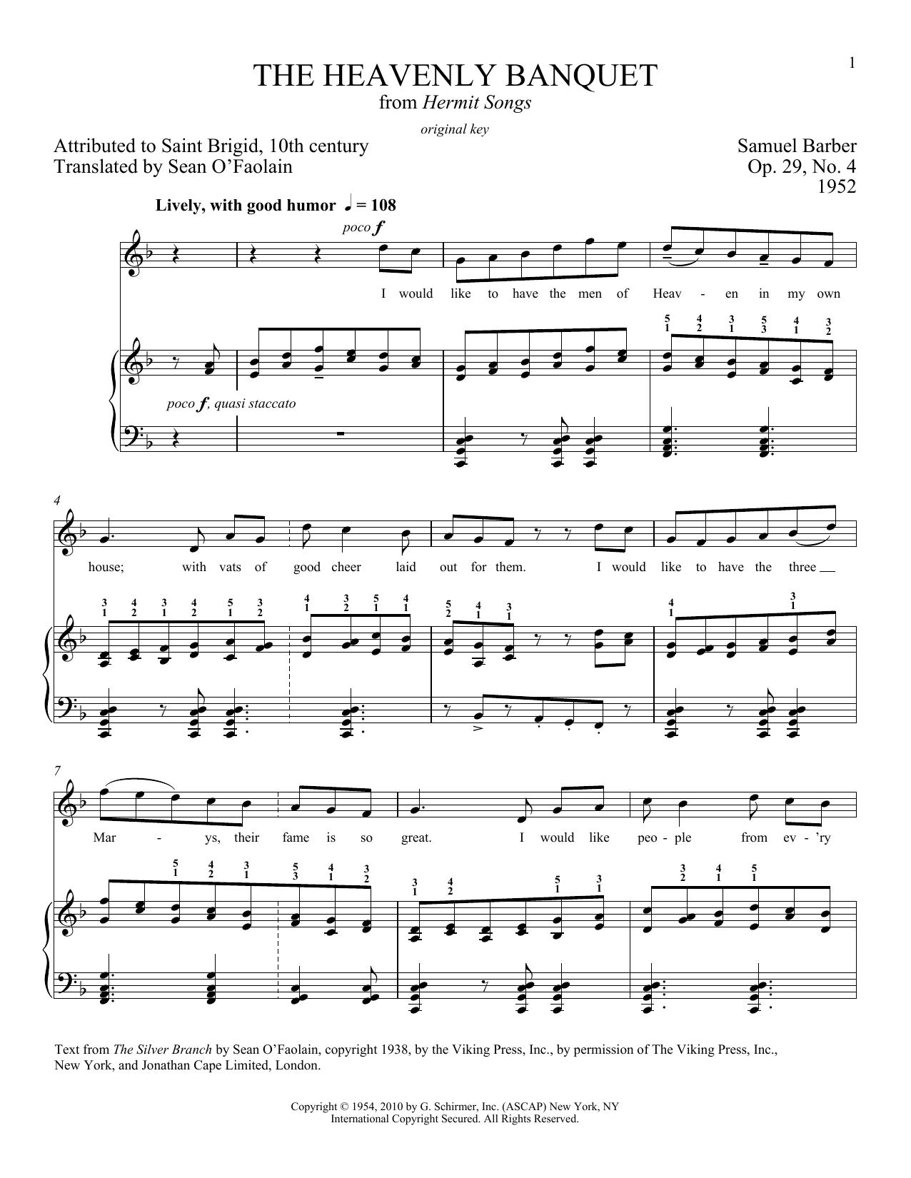 The Heavenly Banquet, Op. 29, No. 4 Sheet Music