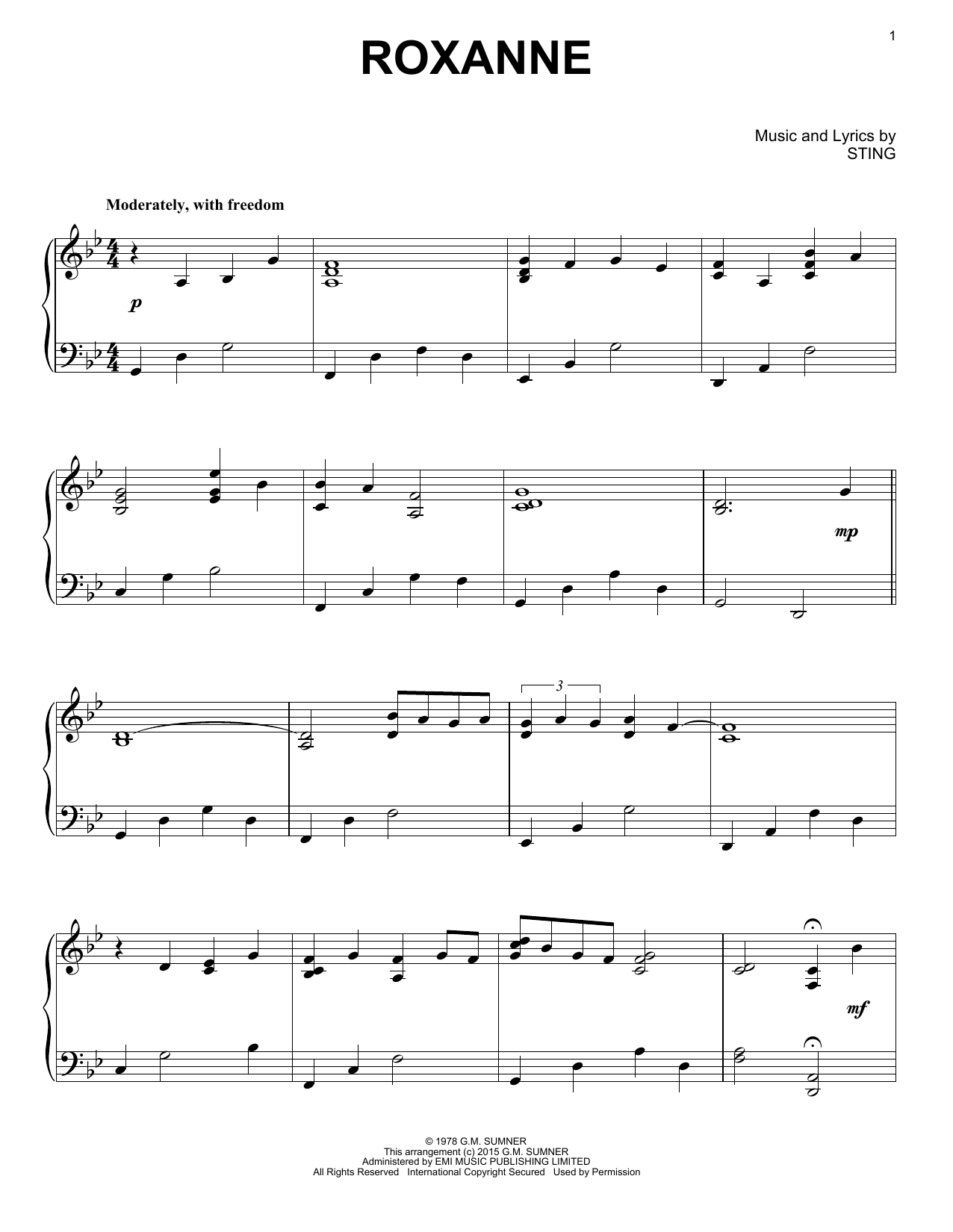 Roxanne Sheet Music