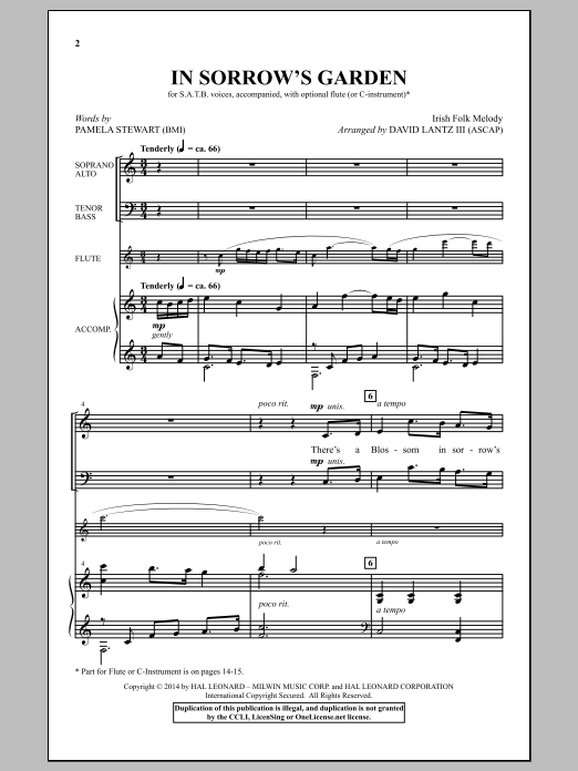 Partition chorale In Sorrow's Garden de David Lantz III - SATB