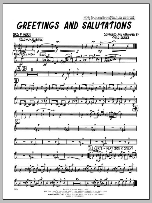 Greetings and salutations 3rd f horn sheet music by thad jones greetings and salutations 3rd f horn sheet music m4hsunfo