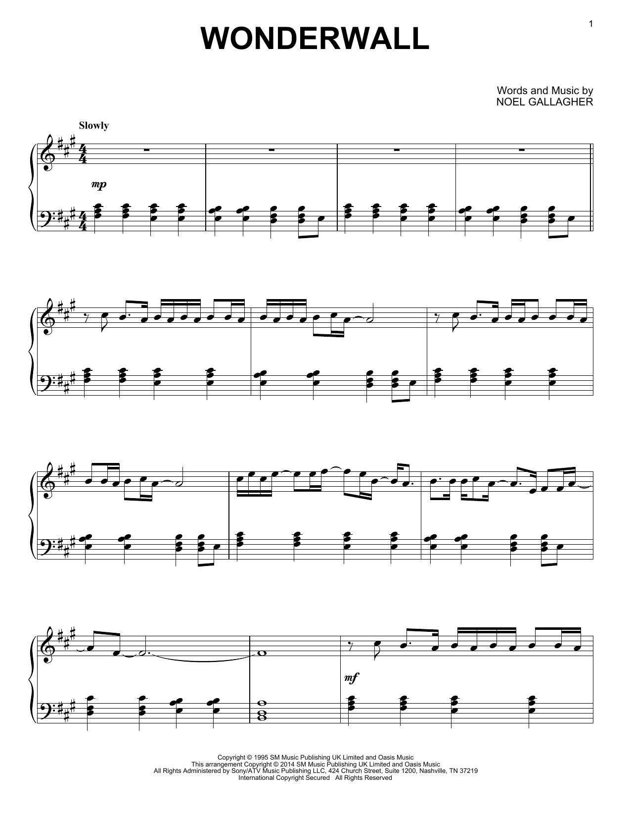 Wonderwall Sheet Music