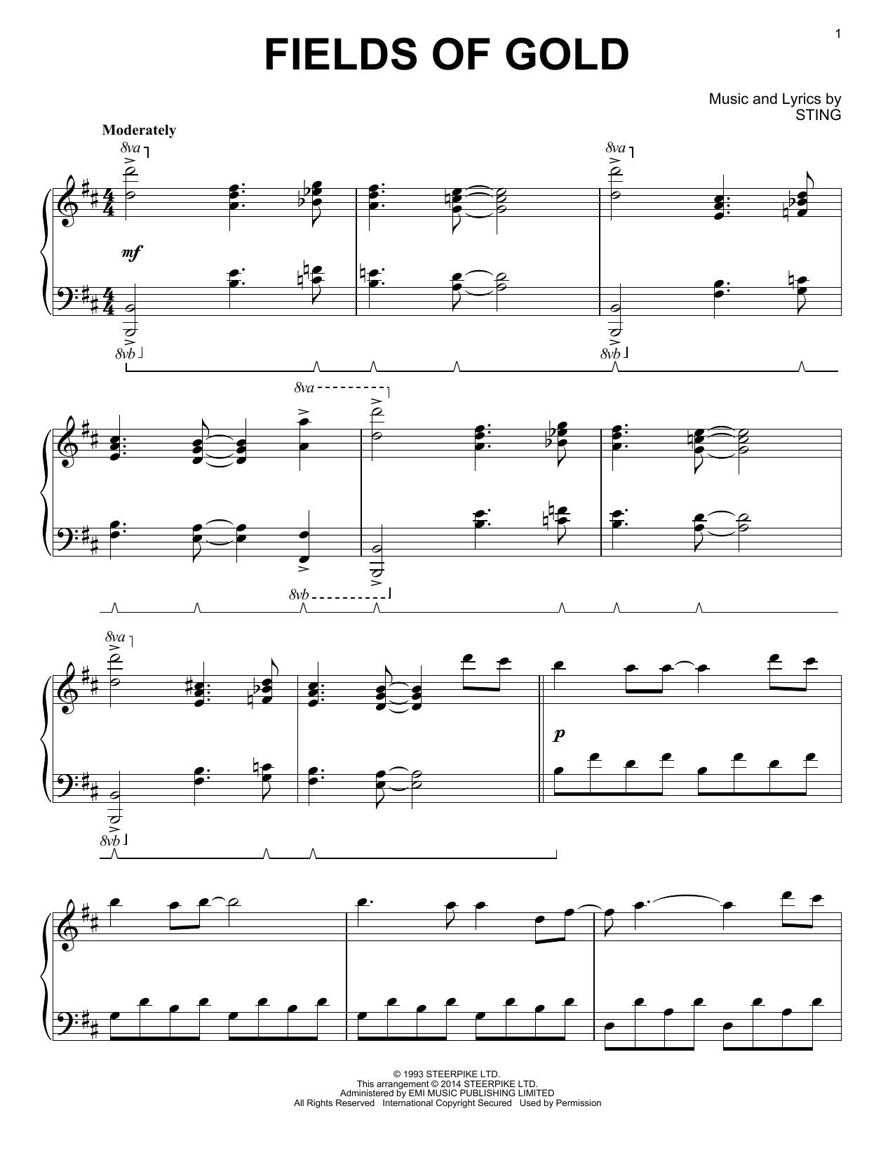 Partition piano Fields Of Gold de Sting - Piano Solo