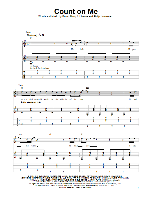 Count On Me Bruno Mars Guitar Tab Play Along