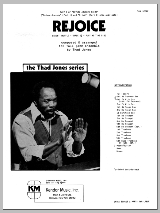 Rejoice (COMPLETE) sheet music for jazz band by Thad Jones. Score Image Preview.