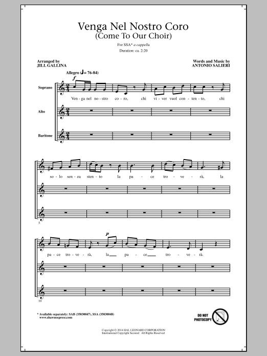 Venga Nel Nostro Coro Sheet Music