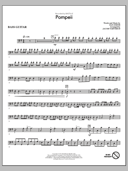 Pompeii (complete set of parts) sheet music for orchestra/band by Jacob Narverud, Bastille and Dan Smith. Score Image Preview.