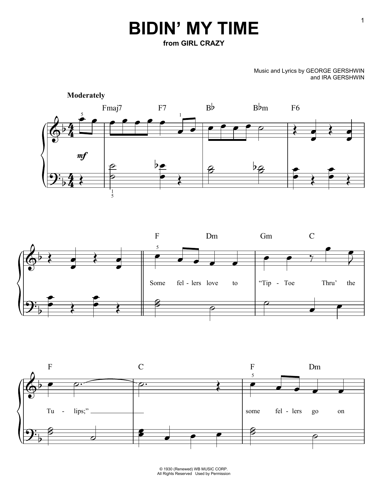 Partition piano Bidin' My Time de George Gershwin - Piano Facile