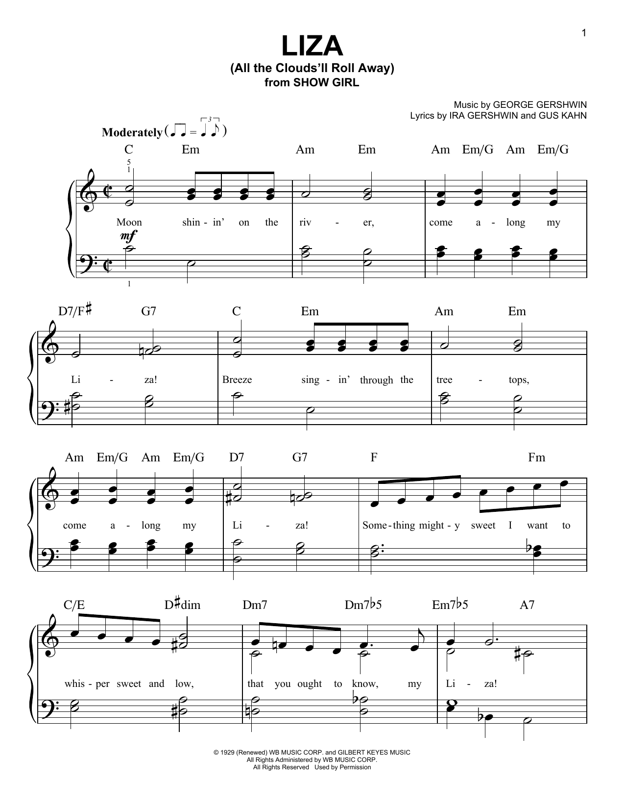 Liza (All The Clouds'll Roll Away) Sheet Music
